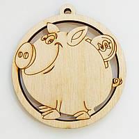 Новогодняя деревянная елочная игрушка заготовка Свинка копилка_круг