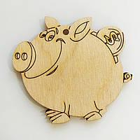 Новогодняя деревянная елочная игрушка заготовка Свинка копилка