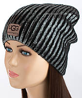 Женская шапочка с фольгированием Эрика черная
