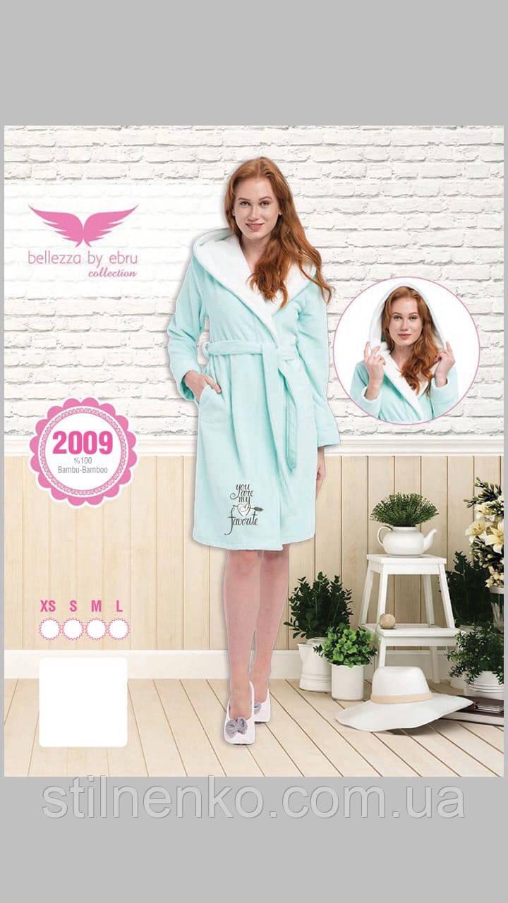 Мятный халат с вышивкой Bellezza бамбуковый № 2009