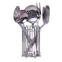 Подарочный набор кухонных принадлежностей Kamille 6 предметов на подставке из нержавеющей стали