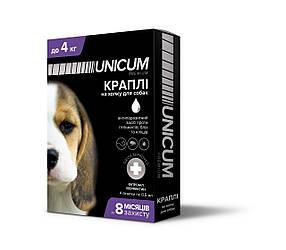 Капли Unicum premium от гельминтов, блох и клещей на холку для собак до 4 кг