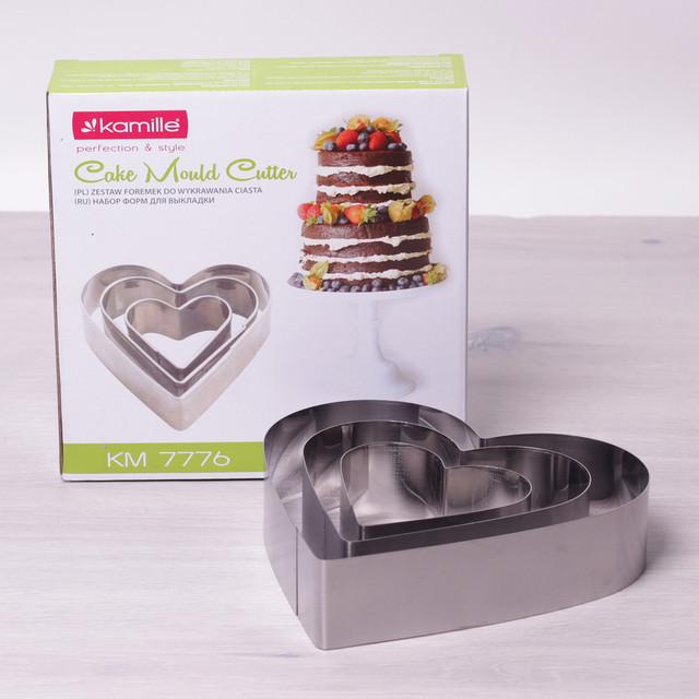 """Подарочный набор из 3 форм Kamille для выкладки блюд/вырезания теста и коржей """"Сердце"""""""