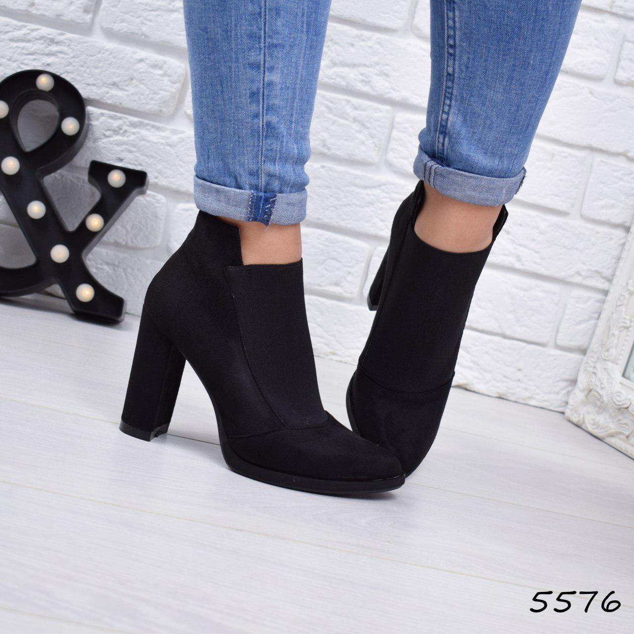 """Ботильоны женские на каблуке, черные """"Pozanny"""" , эко замша, повседневная обувь, ботинки женские"""