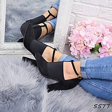 """Ботильоны женские на каблуке, черные """"Swordy"""" , эко замша, повседневная обувь, ботинки женские, фото 3"""