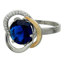 """Женское серебряное кольцо с золотыми пластинами """"Цвет Розы"""""""