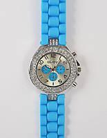 Часы Женева два ряда страз : Голубые