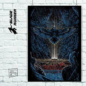 Постер Бегущий по лезвию, Blade Runner (сова над кибергородом). Размер 60x42см (A2). Глянцевая бумага