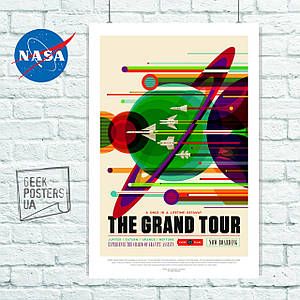 Постер НАСА, NASA, Grand Tour. Размер 60x40см (A2). Глянцевая бумага
