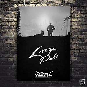 Постер Fallout 4, минималистичный постер, Фаллаут. Размер 60x42см (A2). Глянцевая бумага