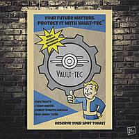 Постер Fallout, Vault-Boy poster. Размер 60x42см (A2). Глянцевая бумага