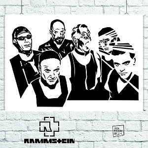 Постер Rammstein, Рамштайн, минималистичный. Размер 60x42см (A2). Глянцевая бумага