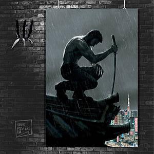 Постер Логан с мечом, на крыше. Росомаха, Логан, The Wolverine. Размер 60x42см (A2). Глянцевая бумага