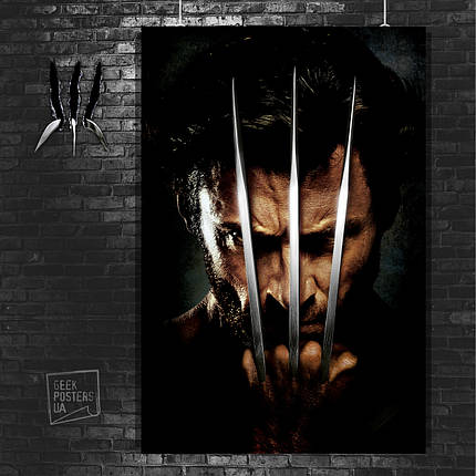 Постер Логан, лицо крупным планом и когти. Размер 60x42см (A2). Глянцевая бумага, фото 2