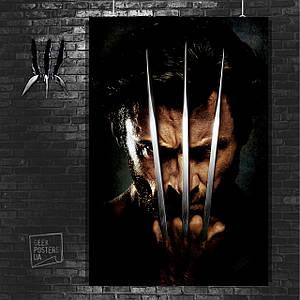 Постер Логан, лицо крупным планом и когти. Размер 60x42см (A2). Глянцевая бумага