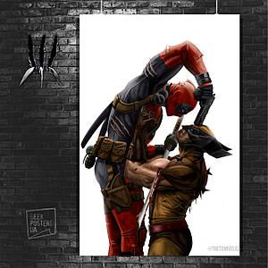 Постер Дэдпул против Росомахи. Размер 60x42см (A2). Глянцевая бумага