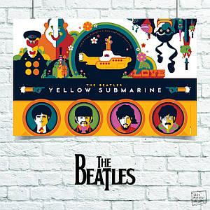 Постер Beatles, Битлз. Размер 60x45см (A2). Глянцевая бумага