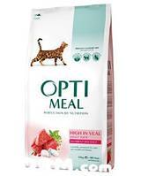 OPTIMEAL сухий корм  для котів з високим вмістом телятини 4 кг