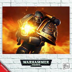 Постер Warhammer 40000 (стреляющий пехотинец). Размер 60x42см (A2). Глянцевая бумага