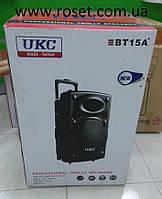 Мощная портативная колонка чемодан на 1000Вт UKC BT15A с 2 микрофонами, фото 1
