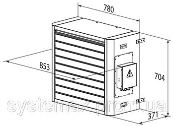 Габаритные размеры ВЕНТС АОЕ 18 (электрический воздушно-отопительный агрегат)