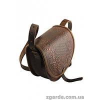 Кожаная сумка с дубовой орнаментикой