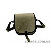 Кожаная сумка с дубовой орнаментикой в оливковом цвете