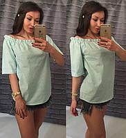 Женская зеленая летняя коттоновая блуза с оголенными плечами. Арт-7242/14