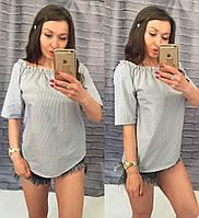 Женская серая летняя коттоновая блуза с оголенными плечами. Арт-7242/14