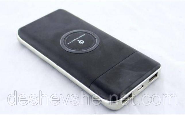 Повербанк с беспроводной зарядкой 10000 mAh QI, Power bank LCD