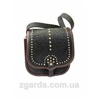 Кожаная сумка в черном и коричневом цвете