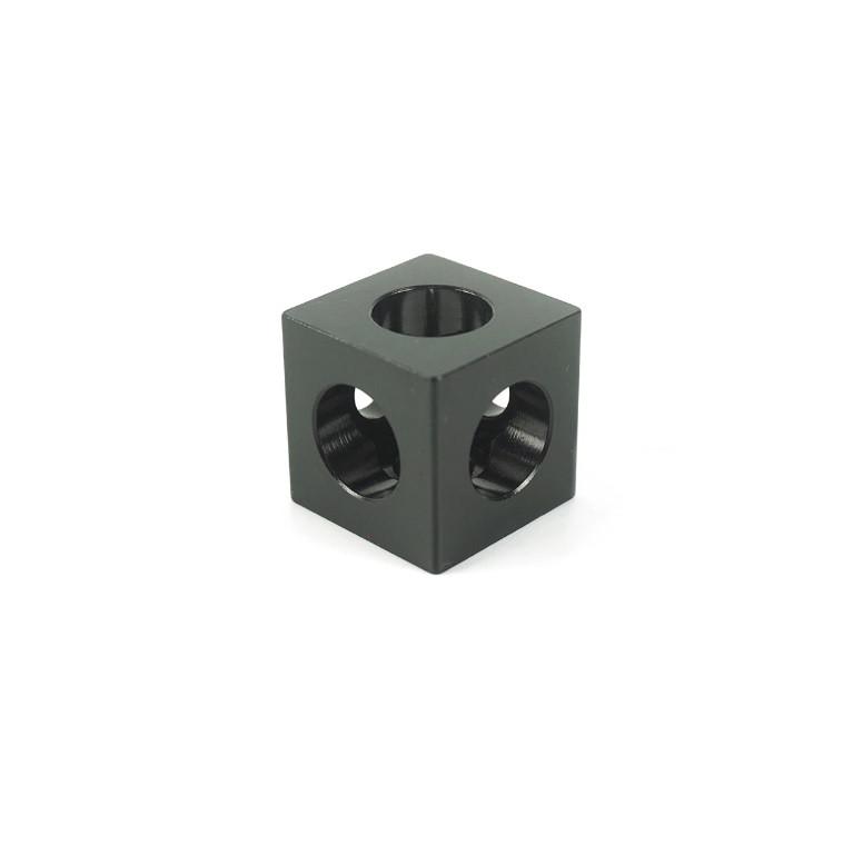 Кутовий з'єднувач куб, профіль 20, чорний
