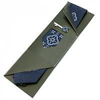 Синий Вышитый Набор Галстук С Зажимом Ярун Jn-0029