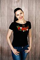 Молодіжна чорна жіноча вишита футболка на короткий рукав із віскози «Макова краса»