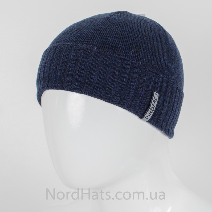 Шапка меланжевая с отворотом,Nordic, Синий+черный