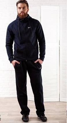 Мужской теплый спортивный костюм Nike темно-синий топ реплика, фото 2