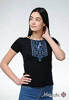 Молодіжна вишиванка у чорному кольорі для жінки «Гуцулка (синя вишивка)»