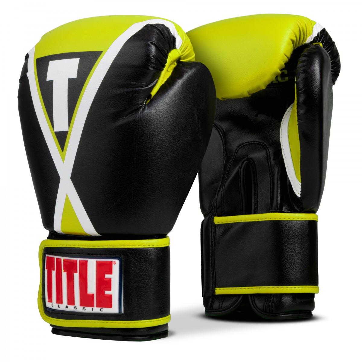 Боксерские перчатки TITLE Classic X-Press Boxing Gloves Black/Lime