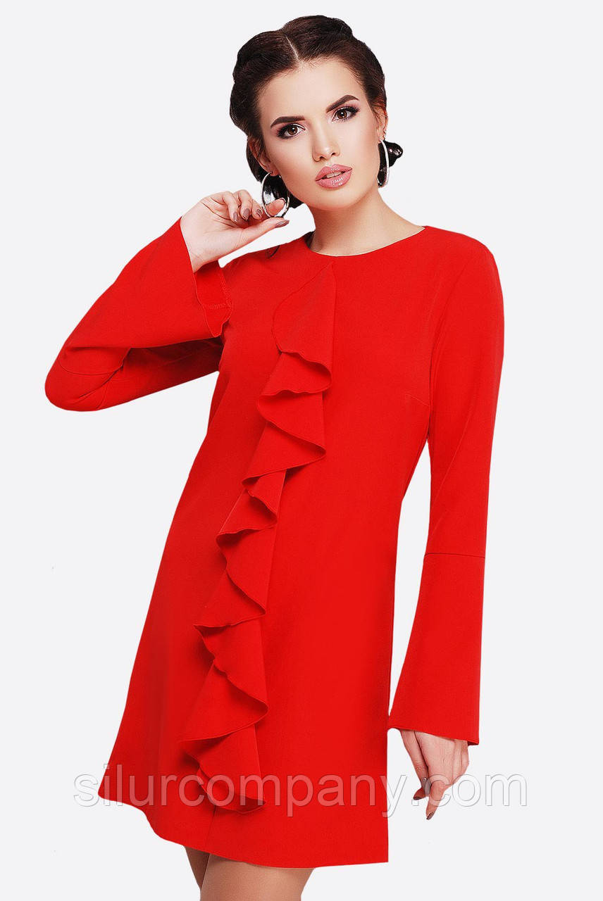 c9828927e47 Женское красное платье с длинным рукавом
