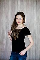 Жіноча чорна вишита футболка Гуцулка коричнева M