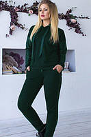 Модный спортивный костюм с экокожей батал (в расцветках)