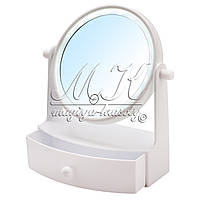 Зеркало с LED подсветкой и выдвижным ящиком (белое,розовое)