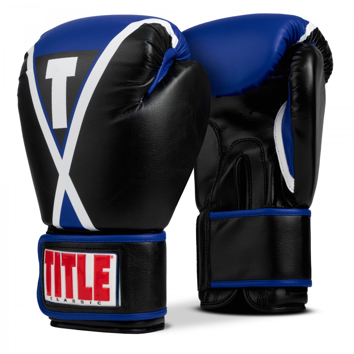 Боксерские перчатки TITLE Classic X-Press Boxing Gloves Black/Blue