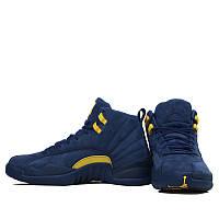 Баскетбольные кроссовки Air Jordan 12 Retro Michigan D4011 темно-синие