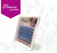 Ресницы цветные голубые (6 линий) 0,07 D mix 8-13