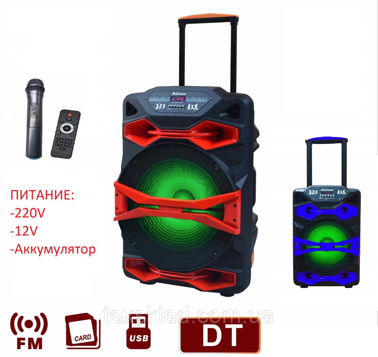 Акумуляторная колонка с микрофоном AIL-1218AK-DT 150W (FM/USB/Bluetooth)