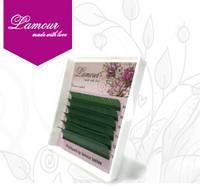 Ресницы цветные зеленые (6 линий) 0,07 D mix 8-13