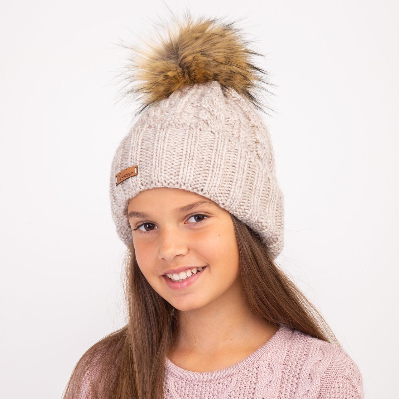 Зимняя шапка с меховым помпоном для девочек оптом - Артикул 2306