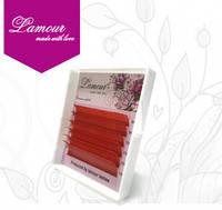 Ресницы цветные красные (6 линий) 0,07 D mix 8-13