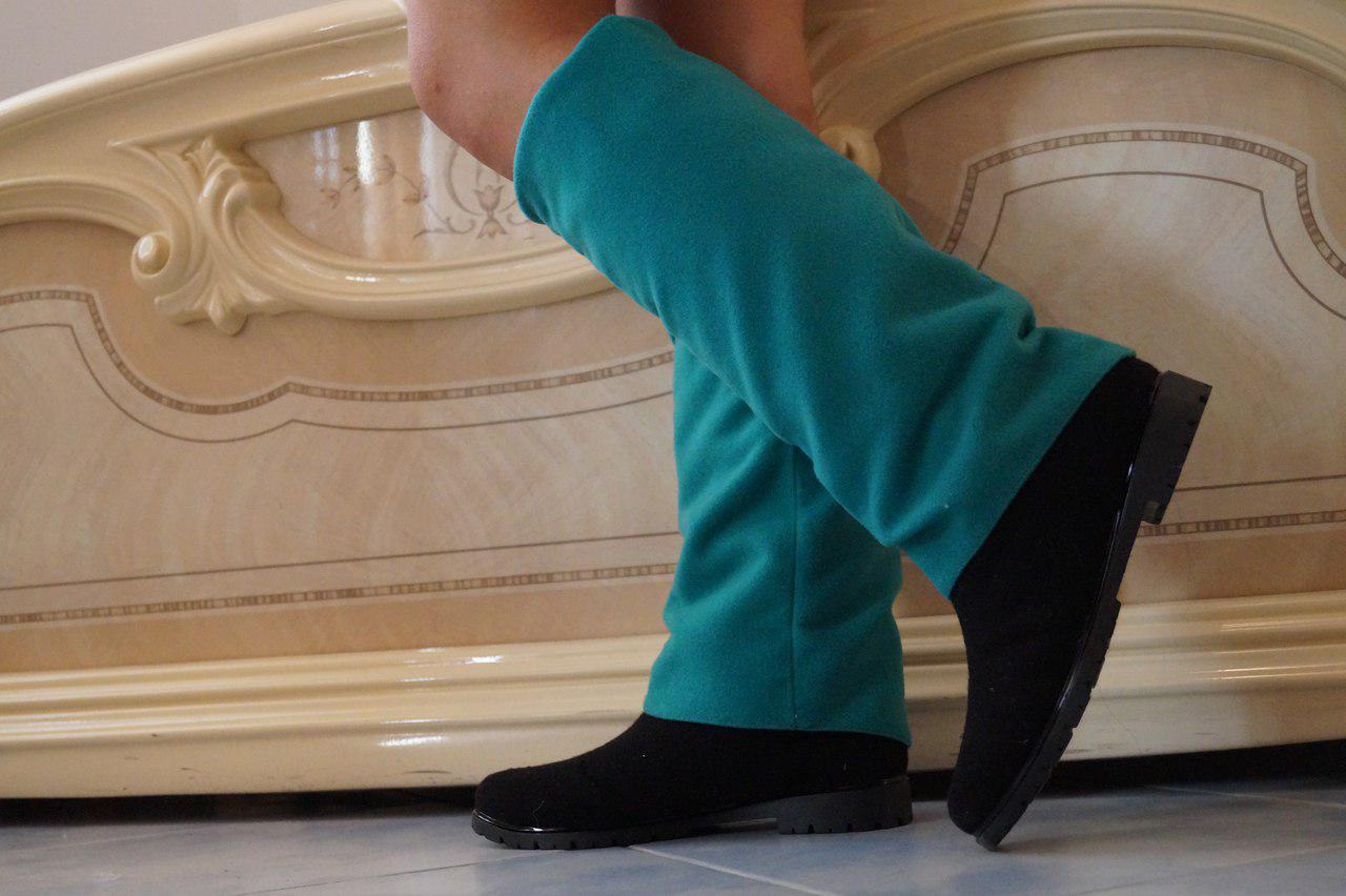 Сапоги кашемир на подкладке, на низком каблуке. Много расцветок кашемира. Размеры: 36-42,  код 4122О